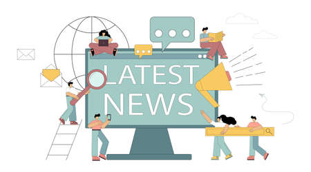 Latest news, sources of information, public awareness. Little people spread news, online news, information about events, announcements. Flat vector illustration isolated on white background 向量圖像
