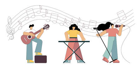 Singer and musicians. Little people play in a group against the background of notes. Flat vector illustration. 向量圖像