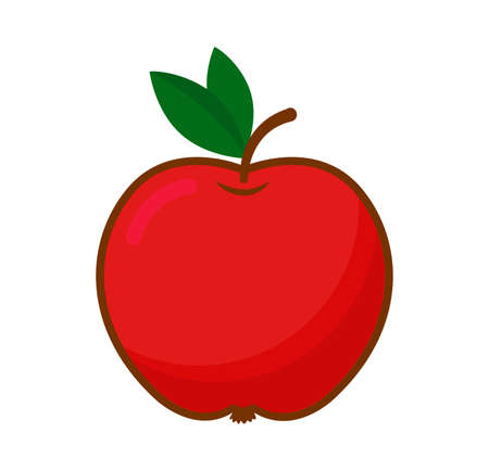 Red apple with green leaves. Vector isolated illustration on white background