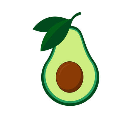 Avocado with green leaf. Vector isolated illustration on white background