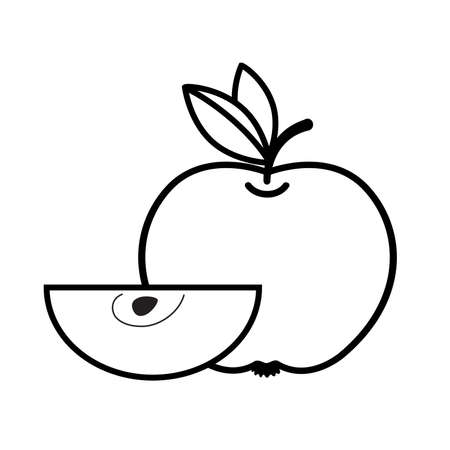 Apple and slice linear icon. Vector isolated illustration on white background