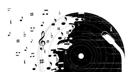 Poster with vinyl record, sheet music and musical notation. Vector isolated illustration on white background.