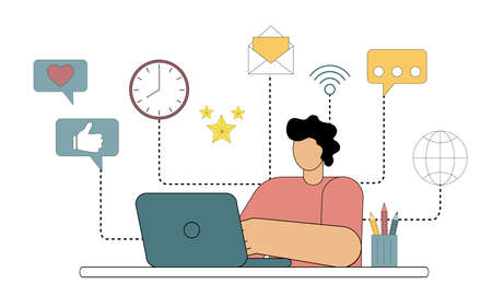 The man sits at his desk at his laptop with icons on the background. Multitasking. Remote work. Vector flat illustration isolated on white background. 向量圖像