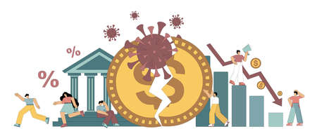 Economic collapse. Lack of money, loss of savings due to the coronavirus. The global business cash crisis and the loss of personal family savings. Flat vector illustration.