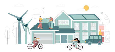 Ecology and green energy concept. Save the planet, reduce global warming. Vector flat illustration with flat men, solar panels, alternative fuel. Green lifestyle. 向量圖像