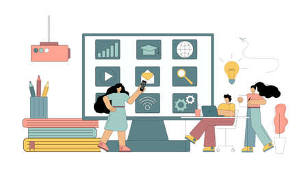 Concept Digital classroom, virtual learning, online learning. Flat people study, conduct a seminar, conference using modern technologies. Vector isolated illustration
