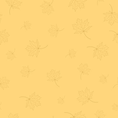 Seamless pattern maple leaves contours on a beige background. 向量圖像