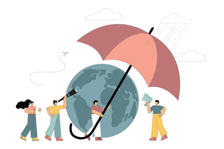 People protect the planet with an umbrella, saving the planet, taking care of the environment, protecting nature, measures to prevent an ecological disaster. Vector isolated illustration on white background on white background.