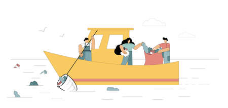 Ocean clean up. Volunteers clean the sea, the ocean is garbage. Flat men float in a boat to clean up and collect garbage, solid waste, plastic, polyethylene on the surface of the water. Vector illustration.
