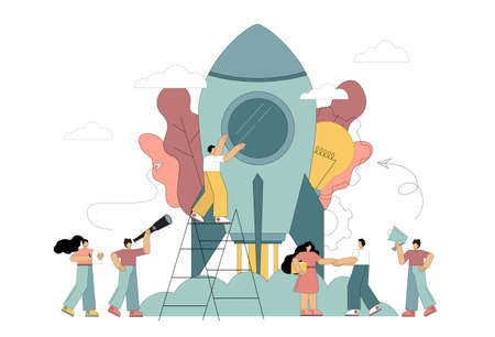 Business startup concept, teamwork. Flat people people launch a rocket. Vector isolated illustration on white background.