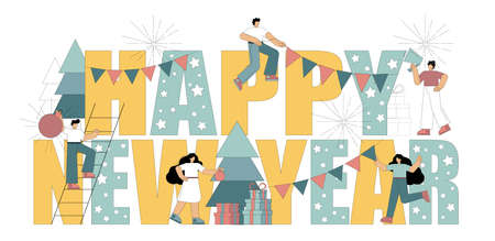 Flat people are preparing for the new year. New year inscription. Concept. Vector illustration isolated on white background.