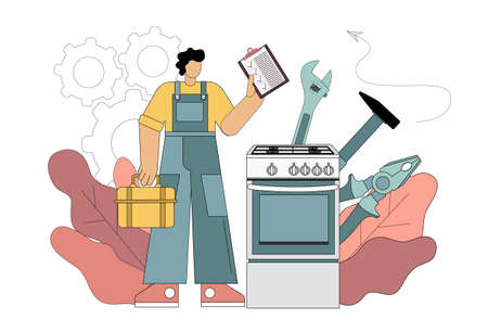 Repairman and gas stove concept. Repairman concept. Worker in the form of repairing household appliances with tools and completed list. Repairman occupation. Vector isolated illustration on white background. 向量圖像
