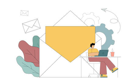 E-marketing, reaching target audience with emails. The flat man is engaged in receiving and sending letters. Vector Illustration Vektorgrafik