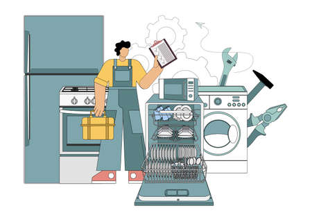 Master, repair master Home electronics appliances dishwasher, refrigerator, microwave, gas stove, washing machine. Vector illustration flat