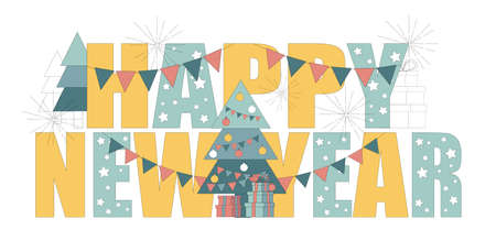 Postcard, banner, card Happy New Year. Vector illustration on white background 向量圖像