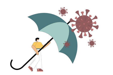 Virus protection, security. A man stands under the protection of an umbrella from a pandemic, coronavirus. Health preservation, finance concept. Vector illustration isolated on white background.