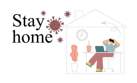 To stay home. Quarantine. Global viral epidemic or pandemic. A person sits at home in self-isolation in order to preserve life and health. Vector illustration on white background 向量圖像