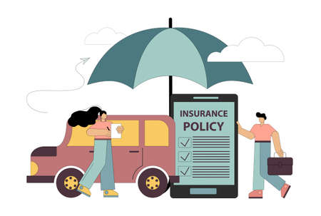 Car insurance concept. Insurance policy. Umbrella, protects the car. Flat people sign an auto insurance contract. Vector illustration isolated on white background. Vektorgrafik