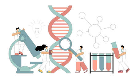 Genetic DNA research. Chemical, biological experiments. Scientists working in the laboratory. Vector illustration isolated on white background. 向量圖像