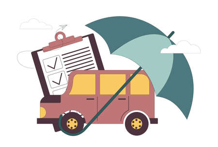 Flat vector illustration. Car insurance concept. Insurance policy. Car under the umbrella.