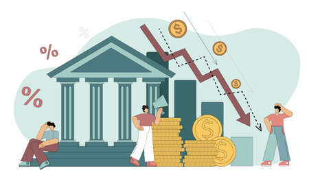 Flat vector illustration. Financial crisis. Bank liabilities, risk of bankruptcy. People are hostages of financial instability, an attempt to prevent bankruptcy, without the desirability of being unable to fulfill bank obligations