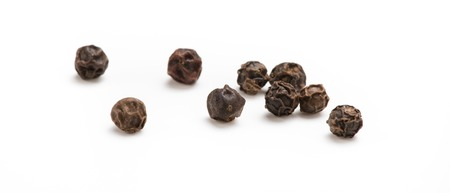 Black pepper isolated on white background. Spices.