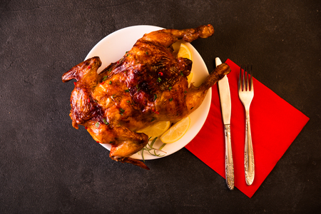 whole chicken: Thanksgiving Turkey. Roasted whole chicken. Top view. Stock Photo