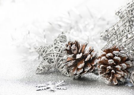 Christmas background. Gray, silver snowflake and star on abstract. Stock Photo