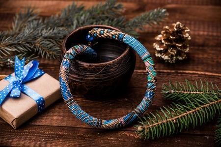 Beadwork. Beaded necklace. Winter. Christmas. Handmade Jewelry. Blue.