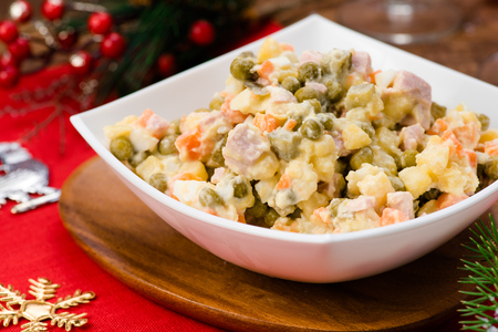 Russian Salad Olivie. Christmas. Tradition. New Year. Stock Photo