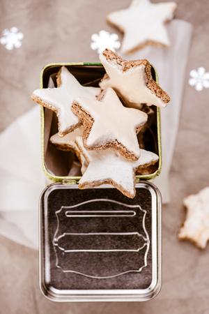 Christmas cinnamon star cookies. Zimtsterne. Top view.