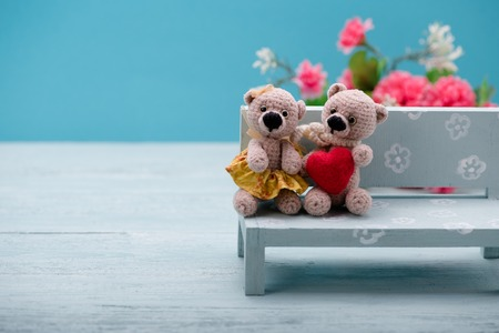 Valentines Day. Love heart. Couple Teddy Bears. Handmade toys. An offer of marriage. Vintage retro romantic style. Family, wedding and friendship