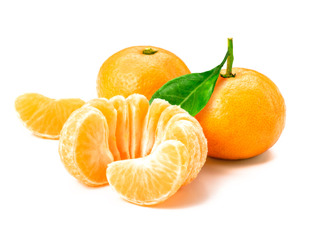 clementine fruit: Isolated tangerine or clementine fruit on white background. Macro. Slice of mandarin.