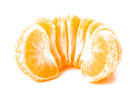 clementine fruit: Isolated tangerine or clementine fruit on white background. Macro. slice of mandarin