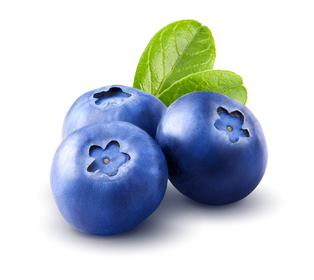 Three blueberries. Berry with leaves isolated on white background. Clipping path. Close up. Macro. Stock Photo