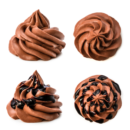 Various chocolate frozen yogurt collection with chocolate sauce. set of chocolate whipped cream isolated on white background with clipping path.