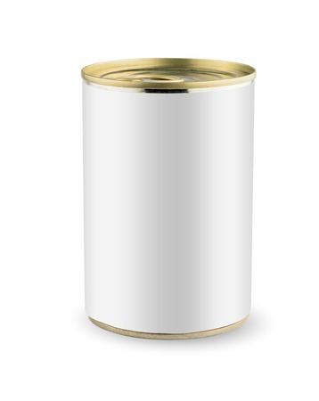 白い空白空缶ゴールド金属缶、缶詰。白い背景上に分離。あなたの設計のために準備ができて。実際の製品梱包。