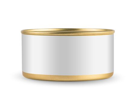 tincan: White blank tincan gold metal Tin Can, canned Food. Isolated on white background. Ready for your design. Real product packing.