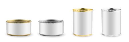 tincan: Set of mockups. White blank tincan silver and gold metal Tin Can, canned Food. Isolated on white background. Ready for your design. Real product packing.