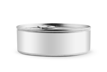 tincan: White blank tincan silver metal Tin Can with key, canned Food. Isolated on white background   Ready for your design. Real product packing. Mockup.