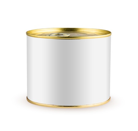White blank tincan gold metal Tin Can with key, canned Food. Isolated on white background with clipping path. Ready for your design. Real product packing. Mockup.