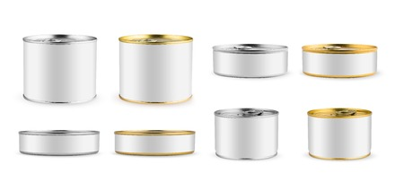 Set of mockups. Package. White blank tincan silver and gold metal Tin Can, canned Food. Isolated on white background. Ready for your design. Real product packing.