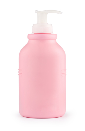 Rose plastic bottle of cleaning product. Isolated on white background with clipping path. Bottle for shampoo, shower gel, lotion, body milk, bath foam, detergent. Package. Mockup. Stock Photo