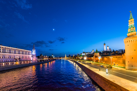 Night view of Kremlin and Moscow river in Moscow, Russia