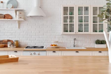 Keukentafel. Keuken achtergrond.
