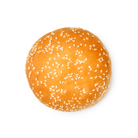 Hamburger buns with sesame isolated on white background. Top view. Stock Photo