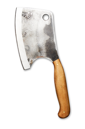 Meat cleaver isolated on white. Old butchers knife
