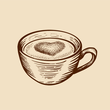 Hand drawn sketch cup of tea coffe with heart. Engraved style vector illustration. Vetores