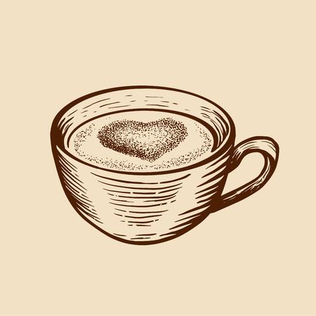 Tasse de croquis dessinés à la main de thé café avec coeur. Illustration vectorielle de style gravé. Vecteurs
