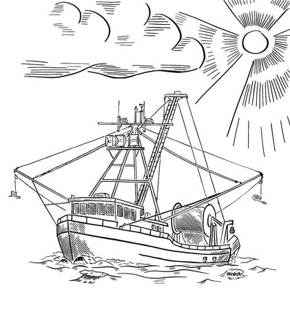Fishing ship. Salmon fishing boat. Alaska. Hand drawn engraving. Vector illustration. Vector Illustratie